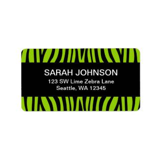 Étiquette de adresse de retour de zèbre de vert et
