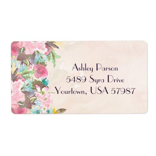Étiquette de adresse de retour floral