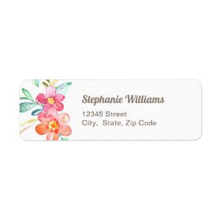 Étiquette de adresse de retour floral coloré