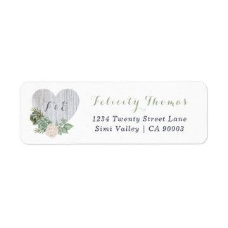 Étiquette de adresse en bois blanc floral sage de