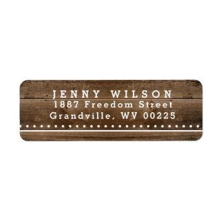 Étiquette de adresse en bois rustique