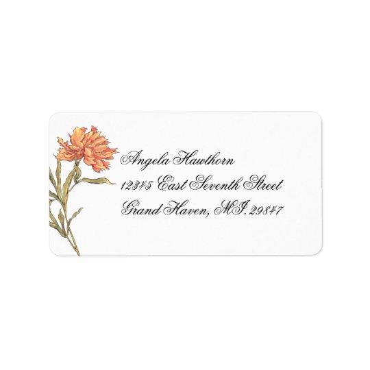 Étiquette de adresse floral de la pivoine RSVP de