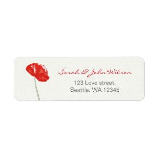 Étiquette de adresse floral de pavots assez rouges