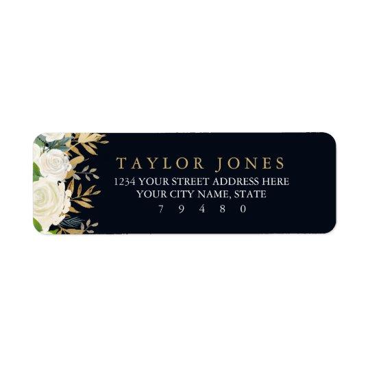 Étiquette de adresse floral de retour d'aquarelle