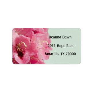 Étiquette de adresse floral élégant de rhododendro