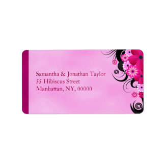 Étiquette de adresse floral magenta fuchsia léger