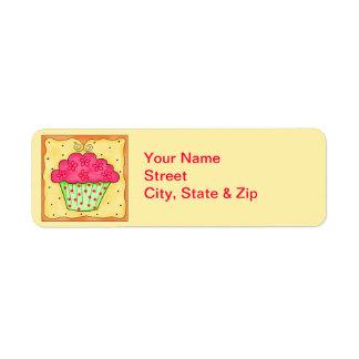 Étiquette de adresse floral rouge de retour de