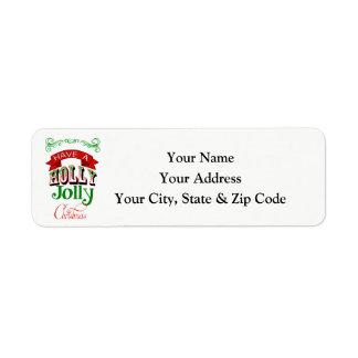 Étiquette de adresse gai de retour de Noël de houx