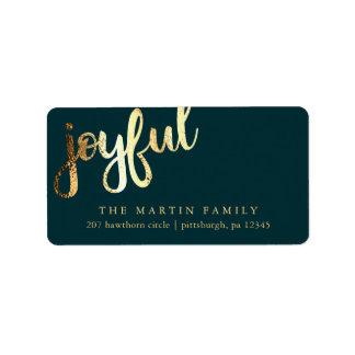Étiquette de adresse joyeux de typographie d'or de