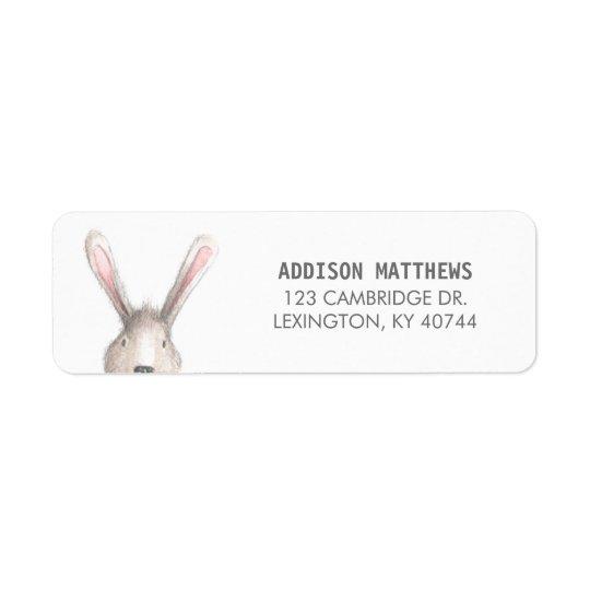 Étiquette de adresse mignon de retour de lapin