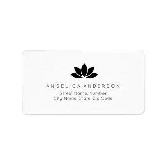 Étiquette de adresse noir de fleur de Lotus