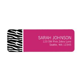 Étiquette de adresse noir et rose moderne de retou étiquette d'adresse retour