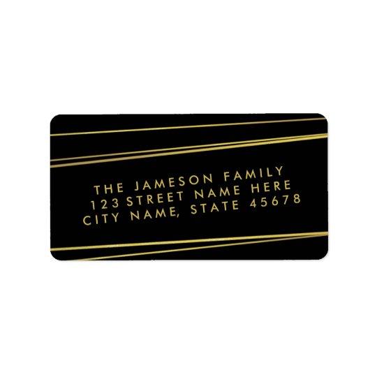 Étiquette de adresse/noir modernes de feuille d'or