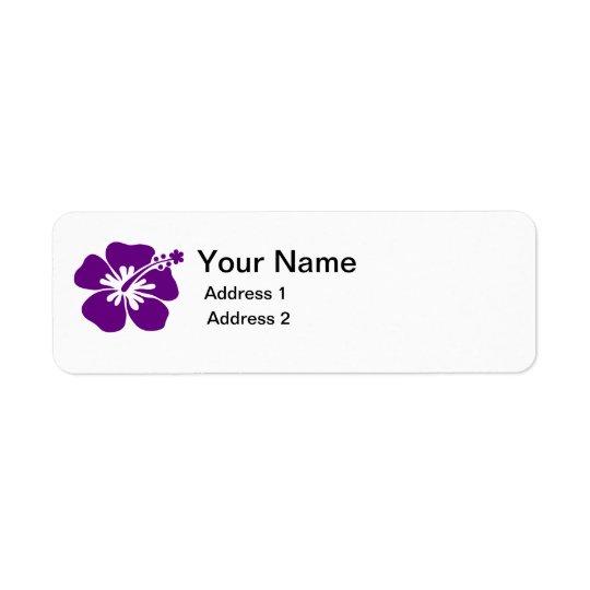 étiquette de adresse pourpre de fleur de ketmie