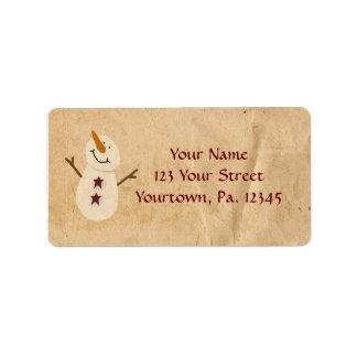 Étiquette de adresse primitif de bonhomme de neige
