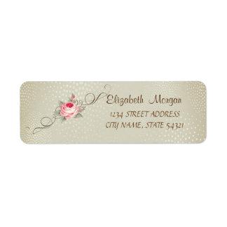 Étiquette de adresse romantique et rose chic