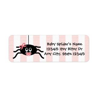 Étiquette de adresse rose de retour de baby shower