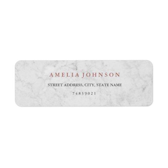 Étiquette de adresse rose d'or de Faux de marbre