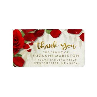 Étiquette de adresse rouge de famille de Merci de