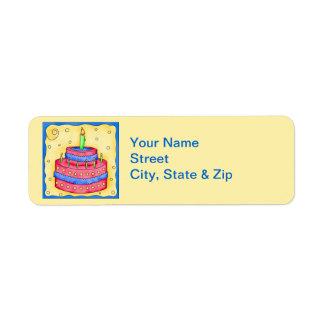 Étiquette de adresse rouge de retour de jaune de