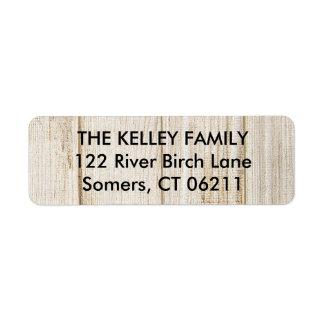 Étiquette de adresse rustique de retour en bois