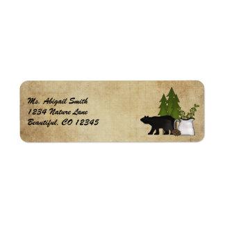 Étiquette de adresse rustique d'ours de pays de
