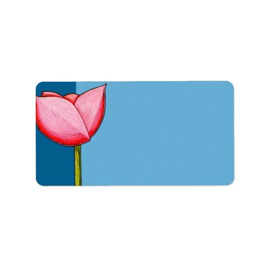 Étiquette de adresse simple de bleu de fleurs