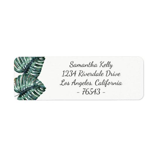 Étiquette de adresse tropical de retour de feuille