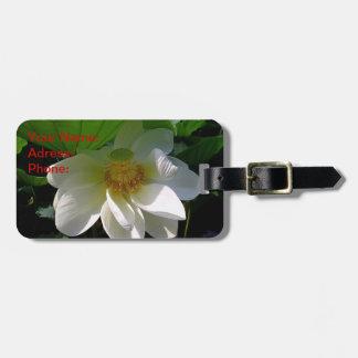 Étiquette de bagage avec la fleur de Lotus blanc Étiquette Pour Bagages