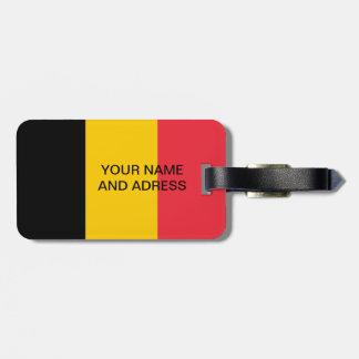Étiquette de bagage avec le drapeau de la Belgique