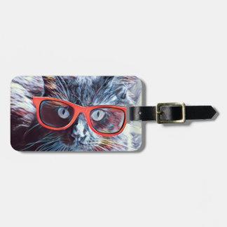Étiquette de bagage de chat de hippie, étiquette à bagage