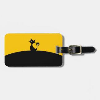 Étiquette de bagage de chat noir avec le bracelet étiquette à bagage