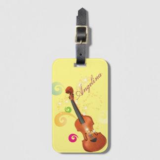 Étiquette de bagage de violon, étiquette de sac étiquette à bagage