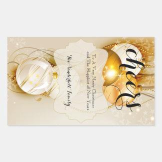 Étiquette de bouteille de vin d'or et de Noël de