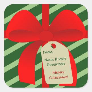 Étiquette de cadeau d'arc de Christmassy