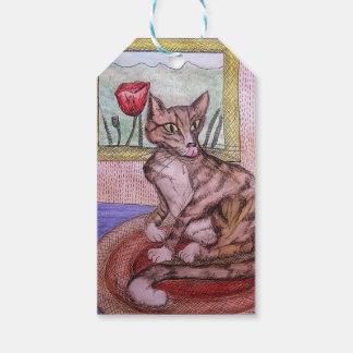 étiquette de cadeau de chat