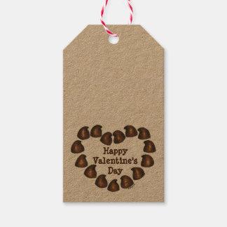 Étiquette de cadeau de coeur de chocolat de