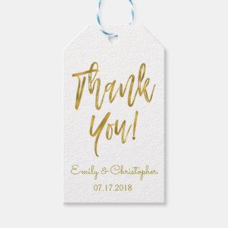 Étiquette de cadeau de Merci de feuille d'or avec