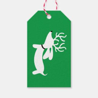 Étiquette de cadeau de Noël de teckel de renne sur
