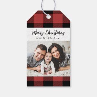 Étiquette de cadeau de photo de Noël de contrôle