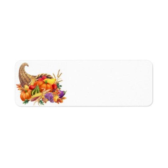 Étiquette de corne d'abondance de thanksgiving