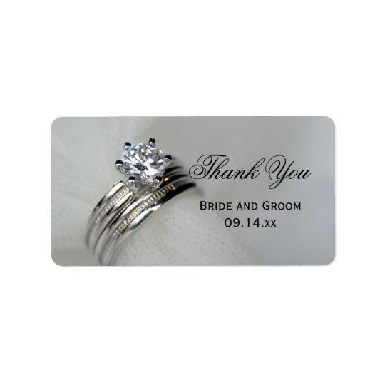 Étiquette de faveur de Merci d'anneaux de mariage
