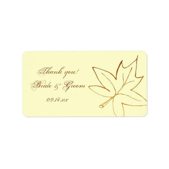 Étiquette de faveur de Merci de mariage de feuille