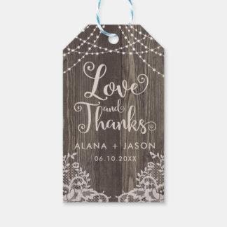 Étiquette de faveur en bois de pays et de mariage