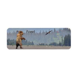 étiquette de golf avec l'ours et l'aigle
