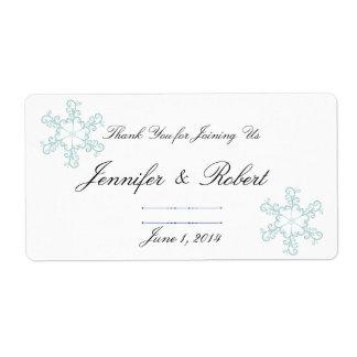 Étiquette de l'eau de mariage de flocon de neige