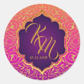 Étiquette de mariage de monogramme de Bollywood de