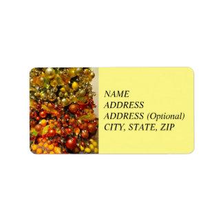 Étiquette de Noël de photo d'arbre d'agrume d'O de