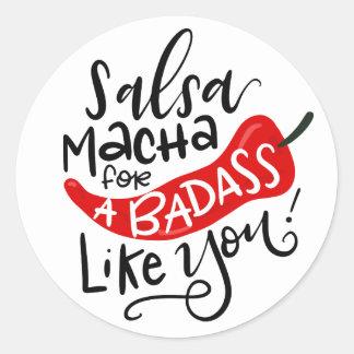 Étiquette de nourriture de Macha de Salsa, main