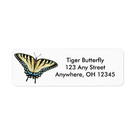 Étiquette de papillon de machaon de tigre